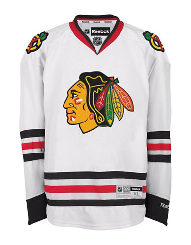 Reebok Chicago Blackhawks NHL Premier Away Jersey-WHITE-Medium