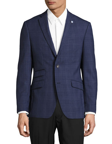 Ted Baker No Ordinary Joe Joey Dot Plaid Suit Jacket-BLUE-44 Regular