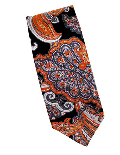 Linea In Paisley Print Silk Tie-ORANGE-One Size