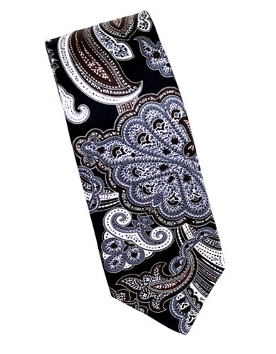 Linea In Paisley Print Silk Tie-BROWN-One Size