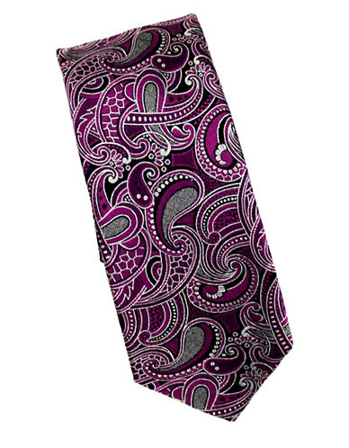 Linea In Paisley Textured Silk Tie-PINK-One Size