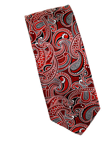 Linea In Paisley Textured Silk Tie-ORANGE-One Size