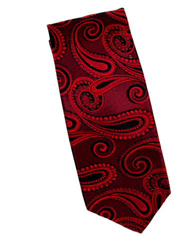 Linea In Paisley Silk Tie-RED-One Size