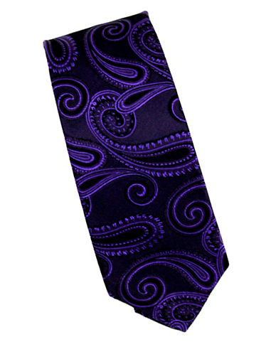 Linea In Paisley Silk Tie-PURPLE-One Size