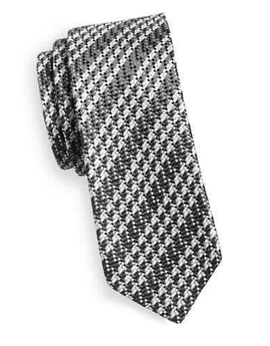 Linea In Woven Texture Silk Tie-GREY-One Size
