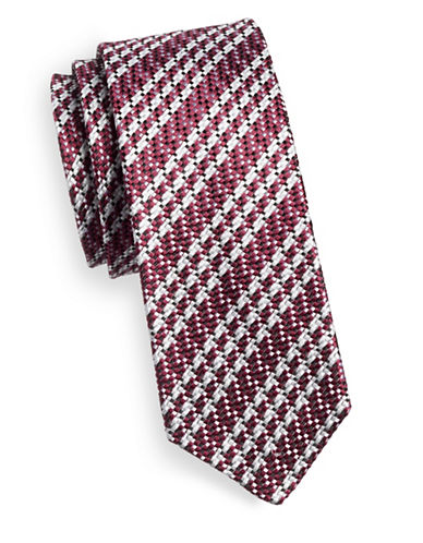 Linea In Woven Texture Silk Tie-RED-One Size