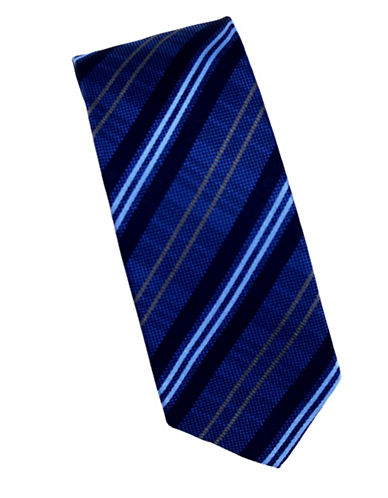 Linea In Woven Texture Silk Tie-BLUE-One Size