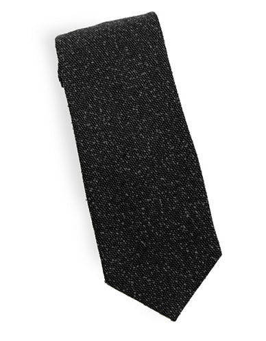 Linea In Slub Silk and Wool Tie-BLACK-One Size