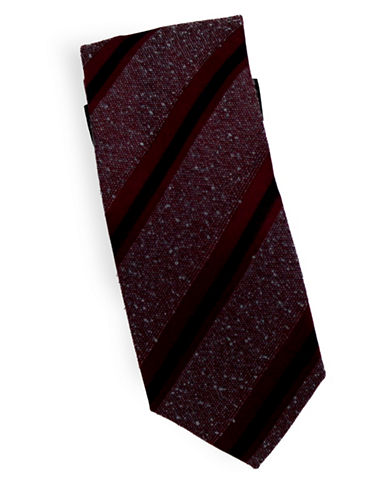 Linea In Striped Slub Silk and Wool Tie-RED-One Size