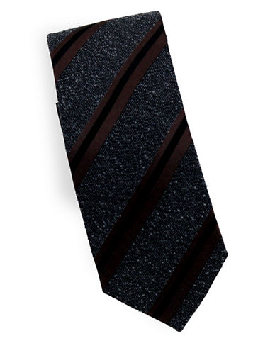 Linea In Striped Slub Silk and Wool Tie-BROWN-One Size