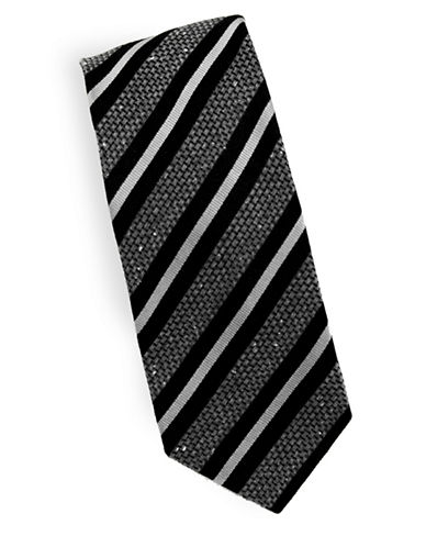 Linea In Striped Thick Weave Silk and Wool Tie-BLACK-One Size