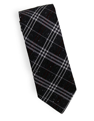 Linea In Winter Plaid Silk and Wool Tie-GREY-One Size