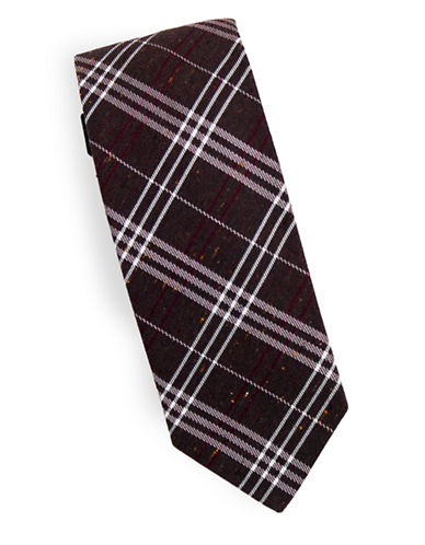 Linea In Winter Plaid Silk and Wool Tie-BROWN-One Size