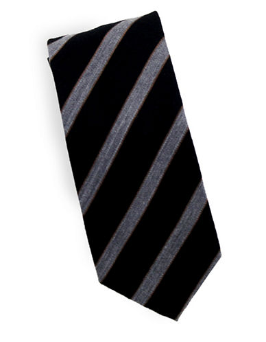Linea In Striped Blazer Silk and Wool Tie-BLACK-One Size