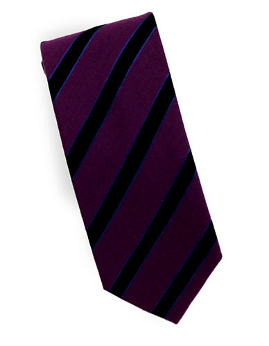 Linea In Striped Blazer Silk and Wool Tie-PURPLE-One Size