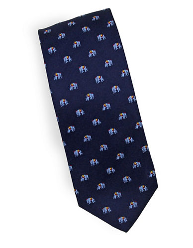 Linea In Elephant Novelty Silk Tie-NAVY-One Size