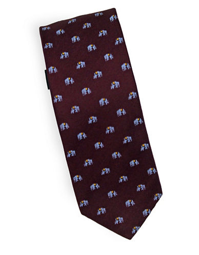 Linea In Elephant Novelty Silk Tie-RED-One Size