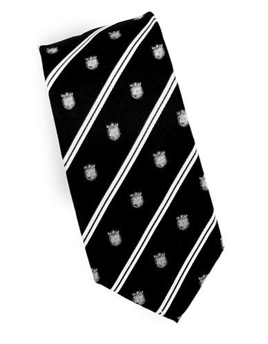 Linea In Crest Novelty Silk Tie-BLACK-One Size