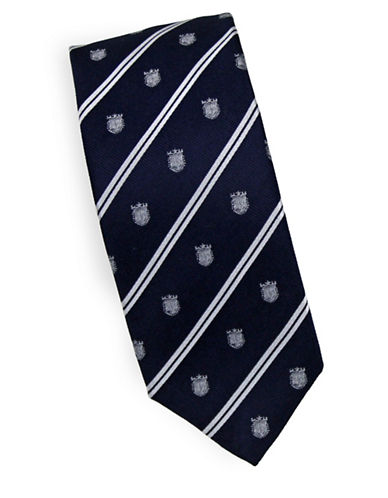 Linea In Crest Novelty Silk Tie-NAVY-One Size