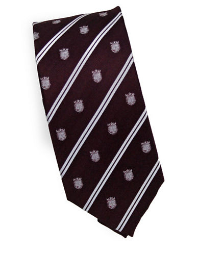 Linea In Crest Novelty Silk Tie-RED-One Size