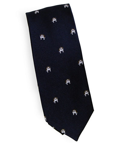 Linea In Bulldog Novelty Silk Tie-NAVY-One Size