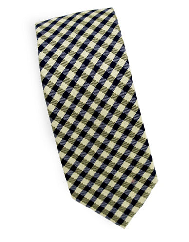 Linea In Checkered Silk and Wool Tie-NAVY-One Size