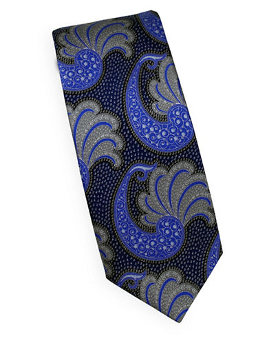 Linea In Paisley Silk Tie-NAVY-One Size