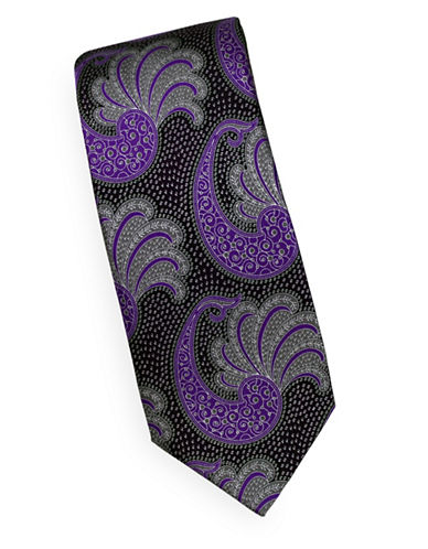Linea In Paisley Silk Tie-LAVENDER-One Size