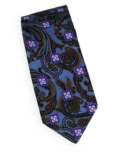 Linea In Geometric Embroidered Silk Tie-SKY-One Size
