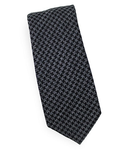 Linea In Houndstooth Silk Tie-BLACK-One Size