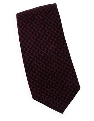 Linea In Houndstooth Silk Tie-BURGUNDY-One Size