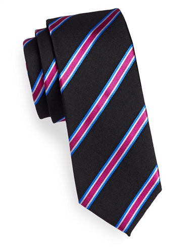 Linea In Silk-Wool Repp Stripe Silk Tie-BLACK-One Size