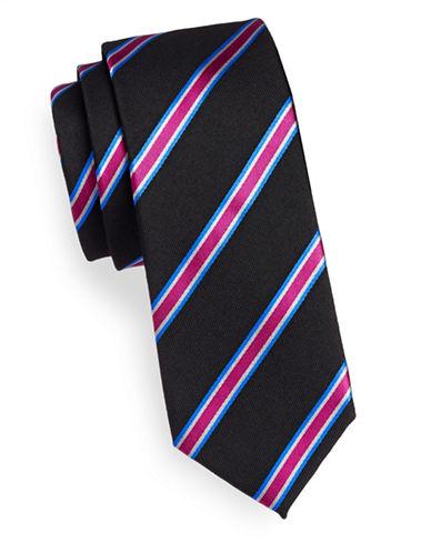 Linea In Silk-Wool Repp Stripe Silk Tie-BLACK-One Size