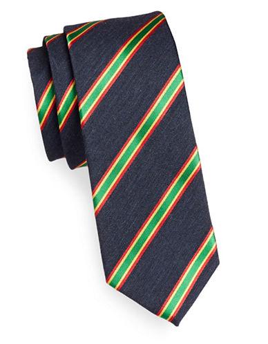 Linea In Silk-Wool Repp Stripe Silk Tie-NAVY-One Size