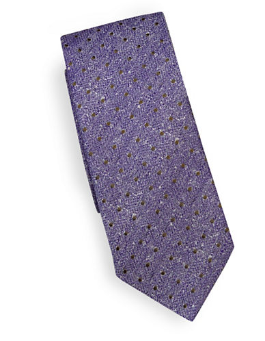 Linea In Textured Polka Dot Silk Tie-LAVENDER-One Size