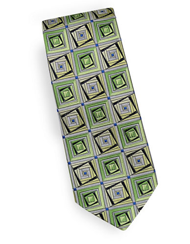 Linea In Geometric Silk Tie-GREEN-One Size