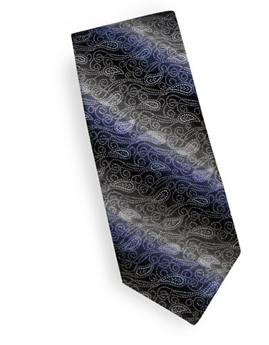 Linea In Textured Paisley Silk Tie-SILVER-One Size