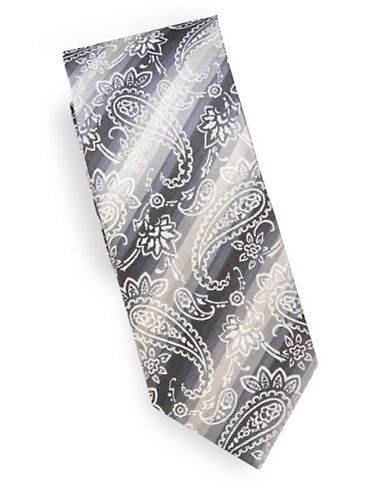 Linea In Floral Check Silk Tie-SILVER-One Size