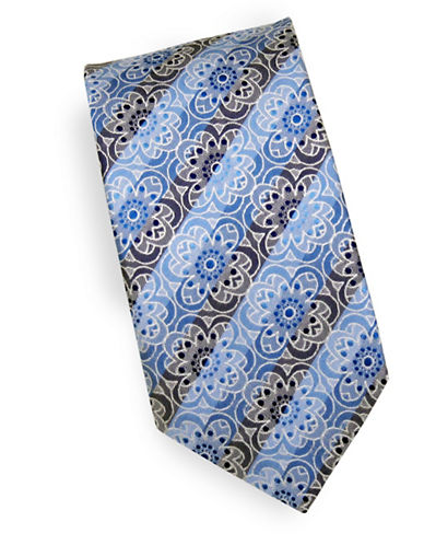 Linea In Floral Check Silk Tie-NAVY-One Size