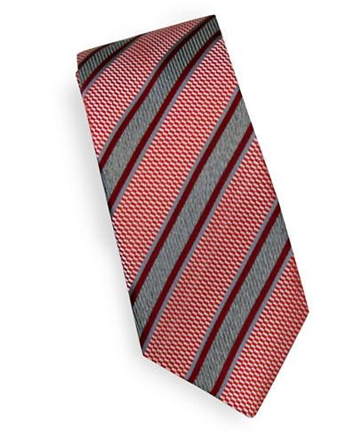Linea In Textured Stripe Silk Tie-RED-One Size