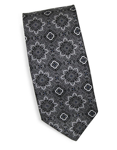 Linea In Silk Mandala Print Tie-BLACK-One Size