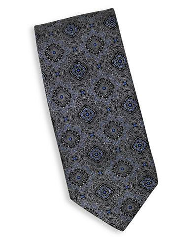 Linea In Silk Mandala Print Tie-NAVY-One Size