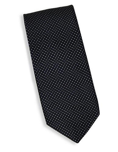 Linea In Micro Dot Print Silk Tie-BLACK-One Size
