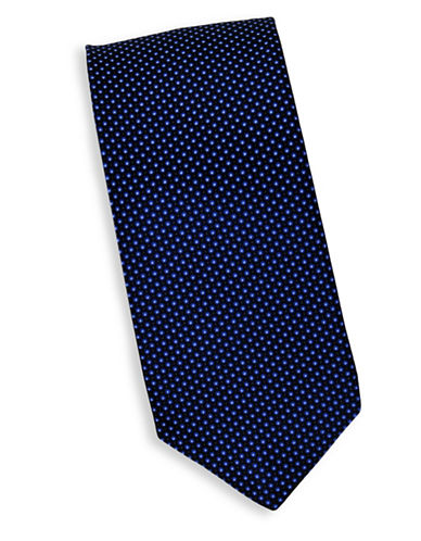 Linea In Micro Dot Print Silk Tie-NAVY-One Size