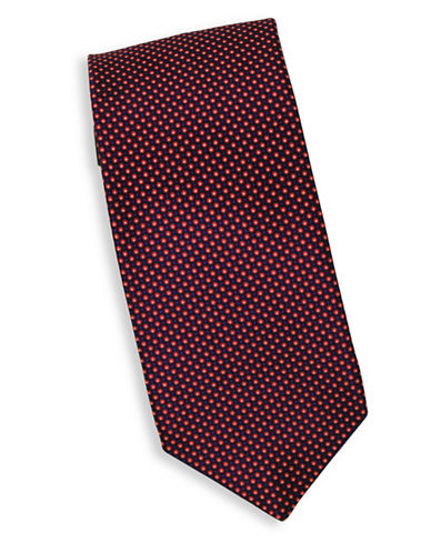 Linea In Micro Dot Print Silk Tie-RED-One Size