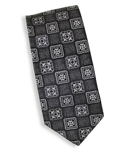 Linea In Geometric Print Silk Tie-BLACK-One Size