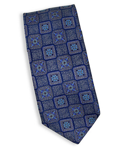 Linea In Geometric Print Silk Tie-NAVY-One Size