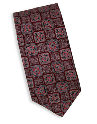 Linea In Geometric Print Silk Tie-RED-One Size