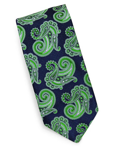 Linea In Paisley Print Silk Tie-GREEN-One Size