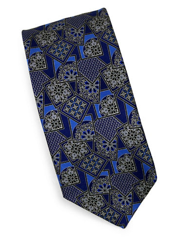 Linea In Floral Geometric Silk Tie-NAVY-One Size